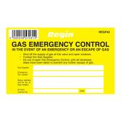 REGIN GAS EMERGENCY CONTROL STICKER